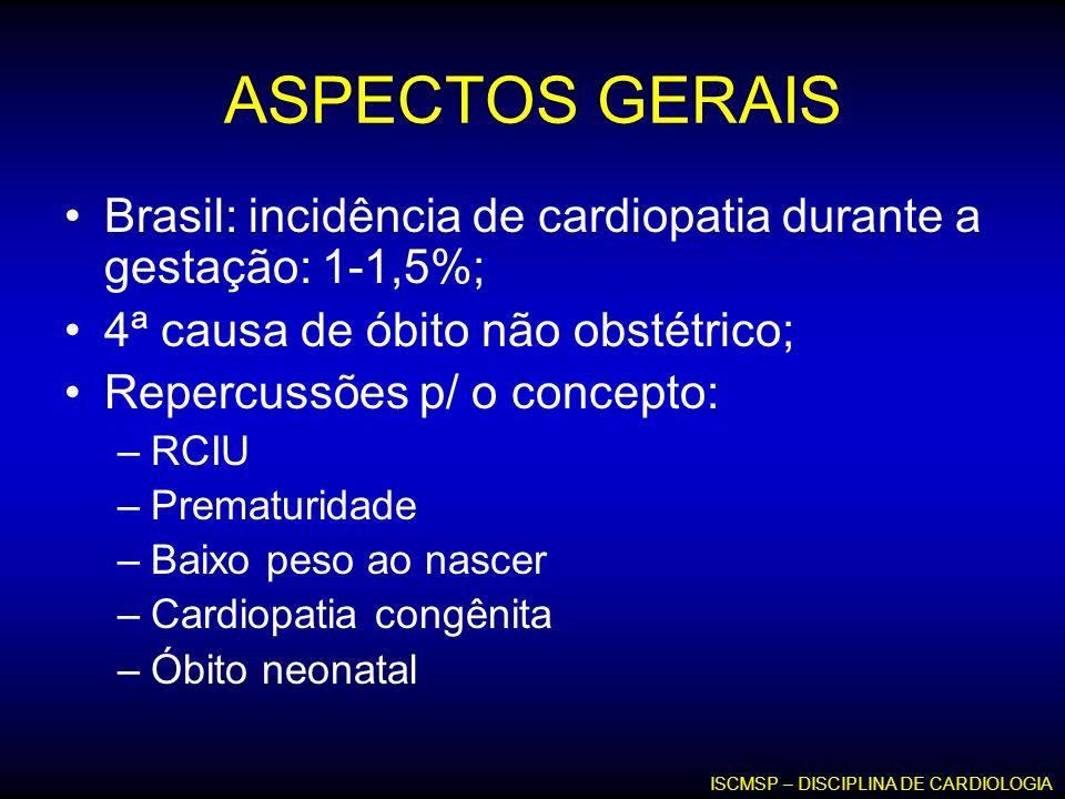 ASPECTOS GERAIS Brasil: incidência de cardiopatia durante a gestação: 1-1,5%; 4ª causa de óbito não obstétrico; Repercussões p/ o concepto: –RCIU –Pre