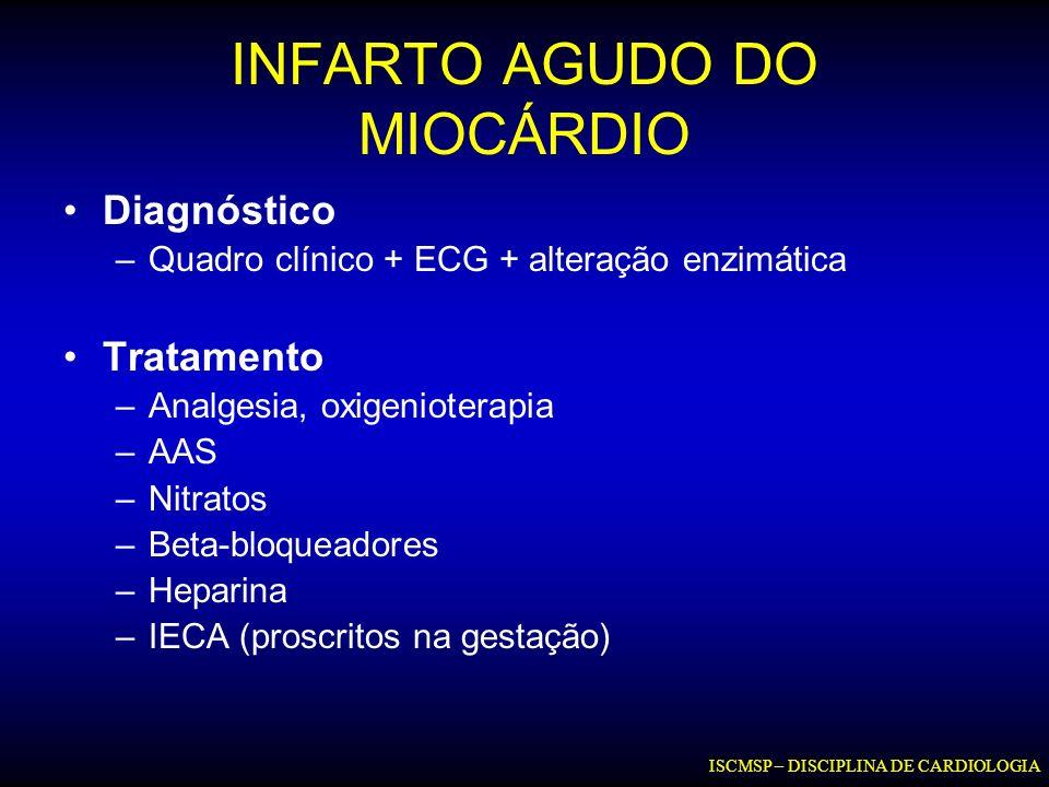 INFARTO AGUDO DO MIOCÁRDIO Diagnóstico –Quadro clínico + ECG + alteração enzimática Tratamento –Analgesia, oxigenioterapia –AAS –Nitratos –Beta-bloque