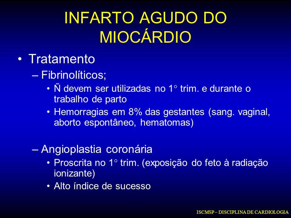 INFARTO AGUDO DO MIOCÁRDIO Tratamento –Fibrinolíticos; Ñ devem ser utilizadas no 1° trim. e durante o trabalho de parto Hemorragias em 8% das gestante
