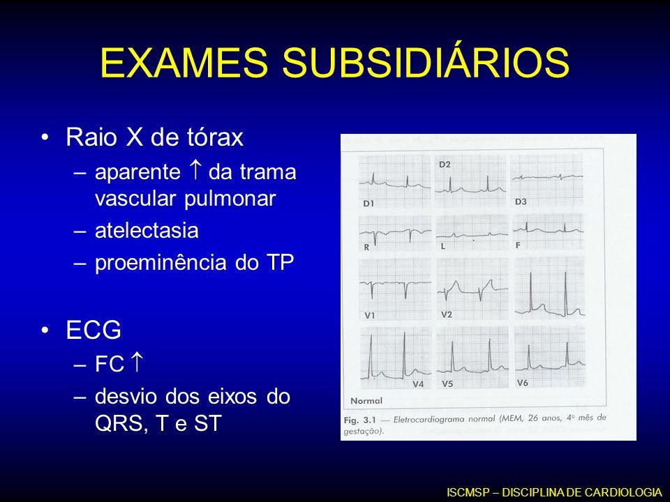 EXAMES SUBSIDIÁRIOS Raio X de tórax –aparente da trama vascular pulmonar –atelectasia –proeminência do TP ECG –FC –desvio dos eixos do QRS, T e ST ISC