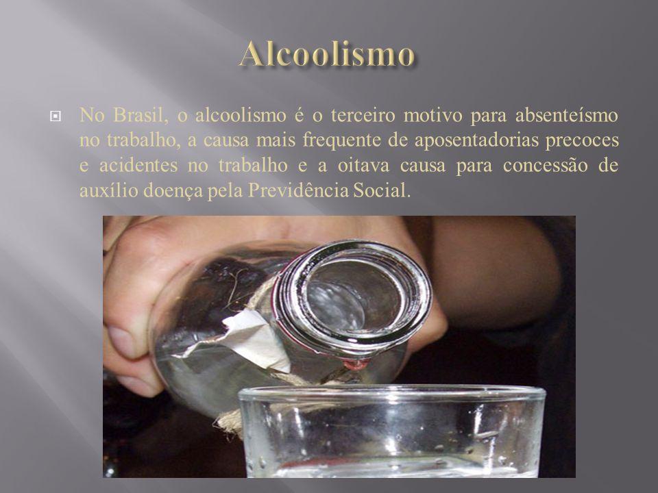 No Brasil, o alcoolismo é o terceiro motivo para absenteísmo no trabalho, a causa mais frequente de aposentadorias precoces e acidentes no trabalho e