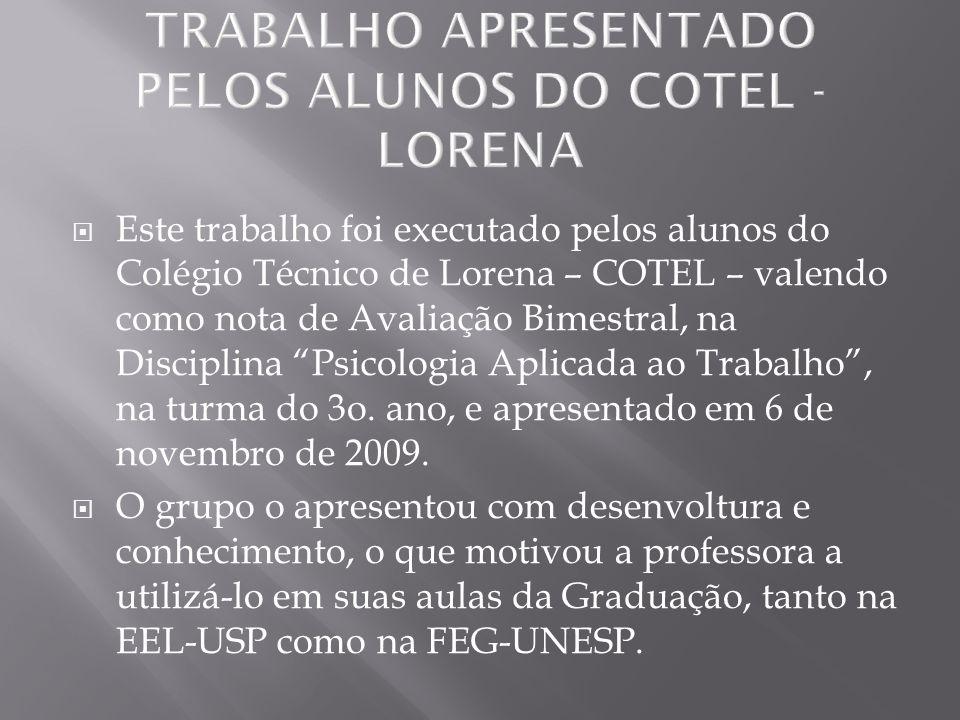 Este trabalho foi executado pelos alunos do Colégio Técnico de Lorena – COTEL – valendo como nota de Avaliação Bimestral, na Disciplina Psicologia Apl