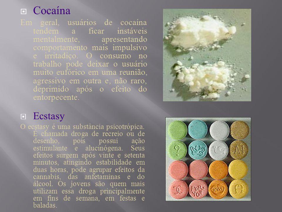 Cocaína Em geral, usuários de cocaína tendem a ficar instáveis mentalmente, apresentando comportamento mais impulsivo e irritadiço. O consumo no traba
