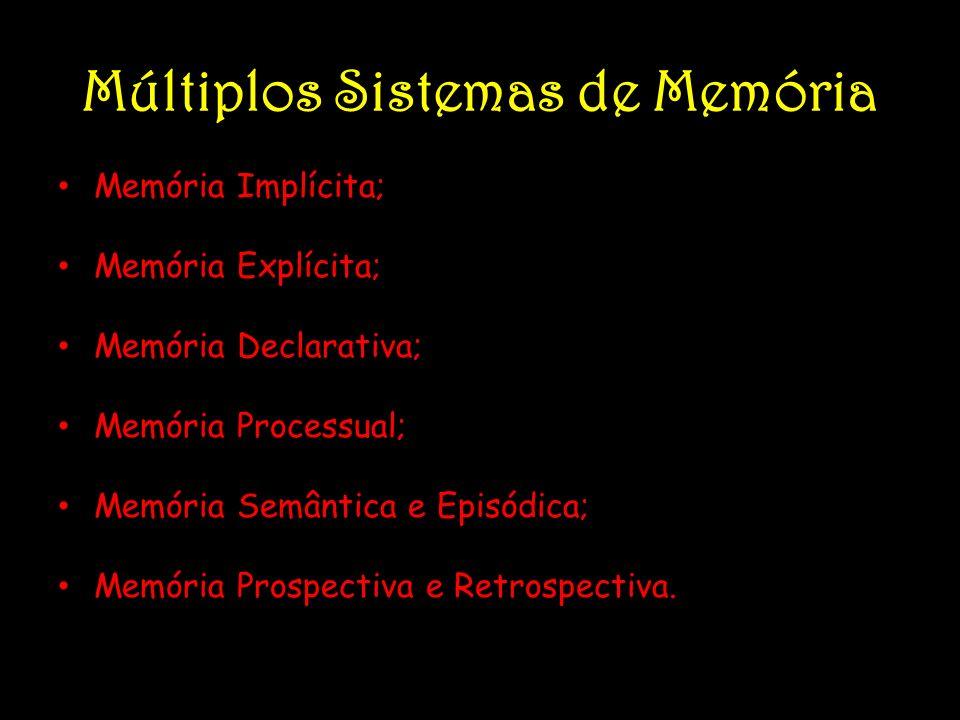 Múltiplos Sistemas de Memória Memória Implícita; Memória Explícita; Memória Declarativa; Memória Processual; Memória Semântica e Episódica; Memória Pr