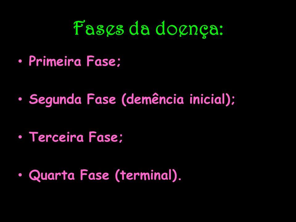 Fases da doença: Primeira Fase; Segunda Fase (demência inicial); Terceira Fase; Quarta Fase (terminal).