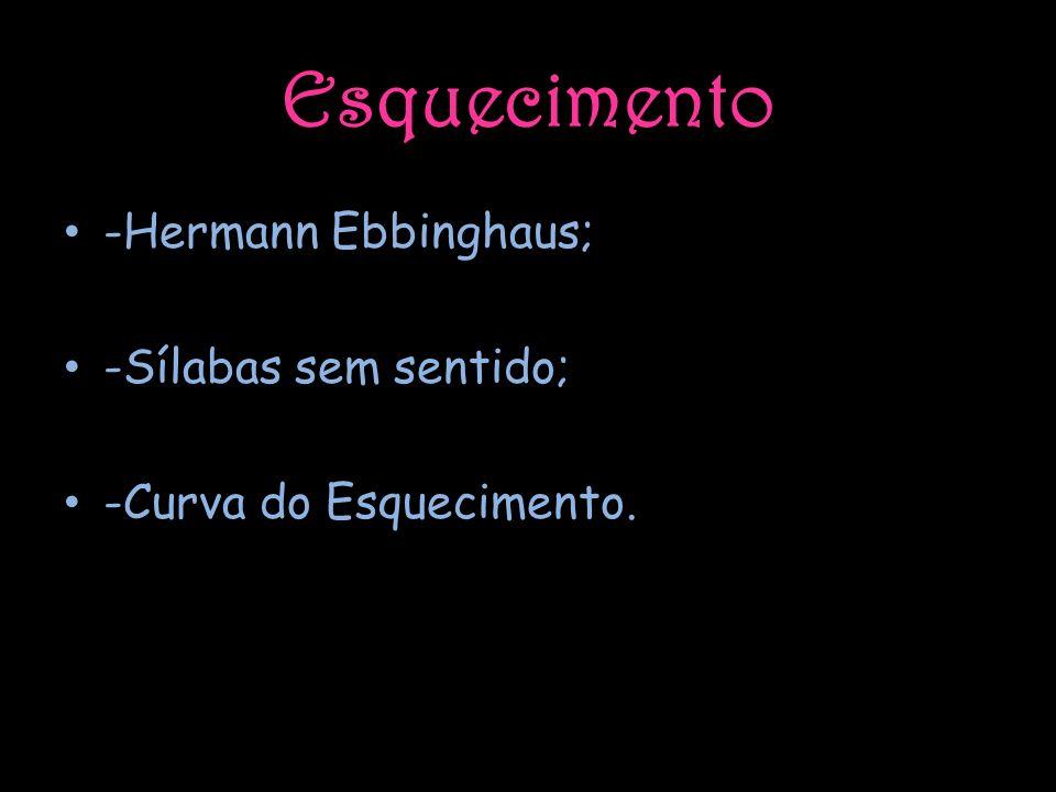 Esquecimento -Hermann Ebbinghaus; -Sílabas sem sentido; -Curva do Esquecimento.