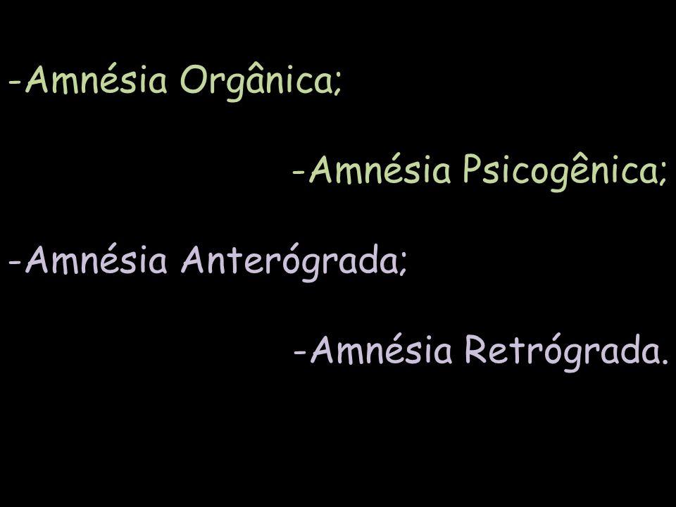 -Amnésia Orgânica; -Amnésia Psicogênica; -Amnésia Anterógrada; -Amnésia Retrógrada.