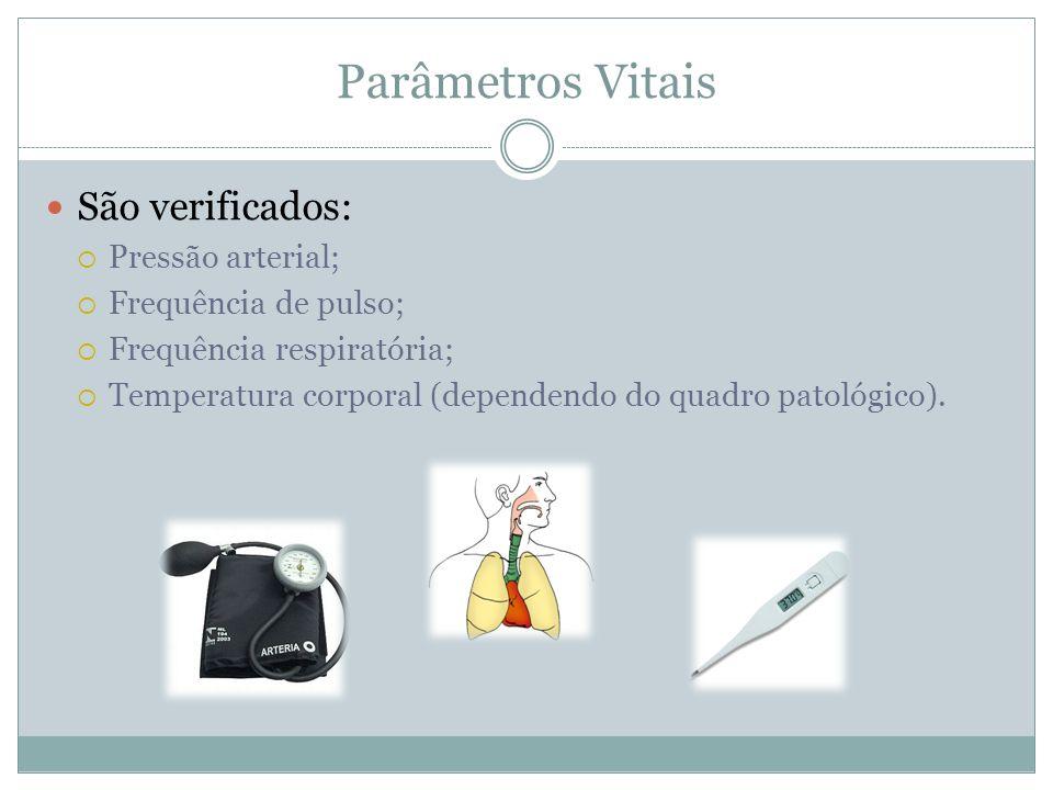 Parâmetros Vitais São verificados: Pressão arterial; Frequência de pulso; Frequência respiratória; Temperatura corporal (dependendo do quadro patológi