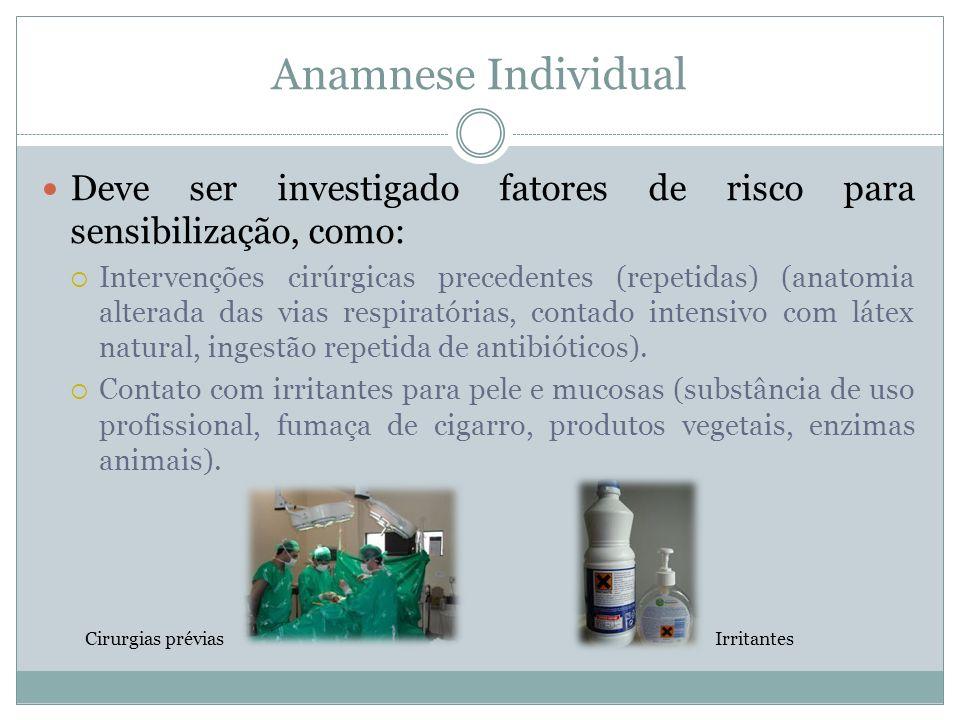 Anamnese Individual Deve ser investigado fatores de risco para sensibilização, como: Intervenções cirúrgicas precedentes (repetidas) (anatomia alterad
