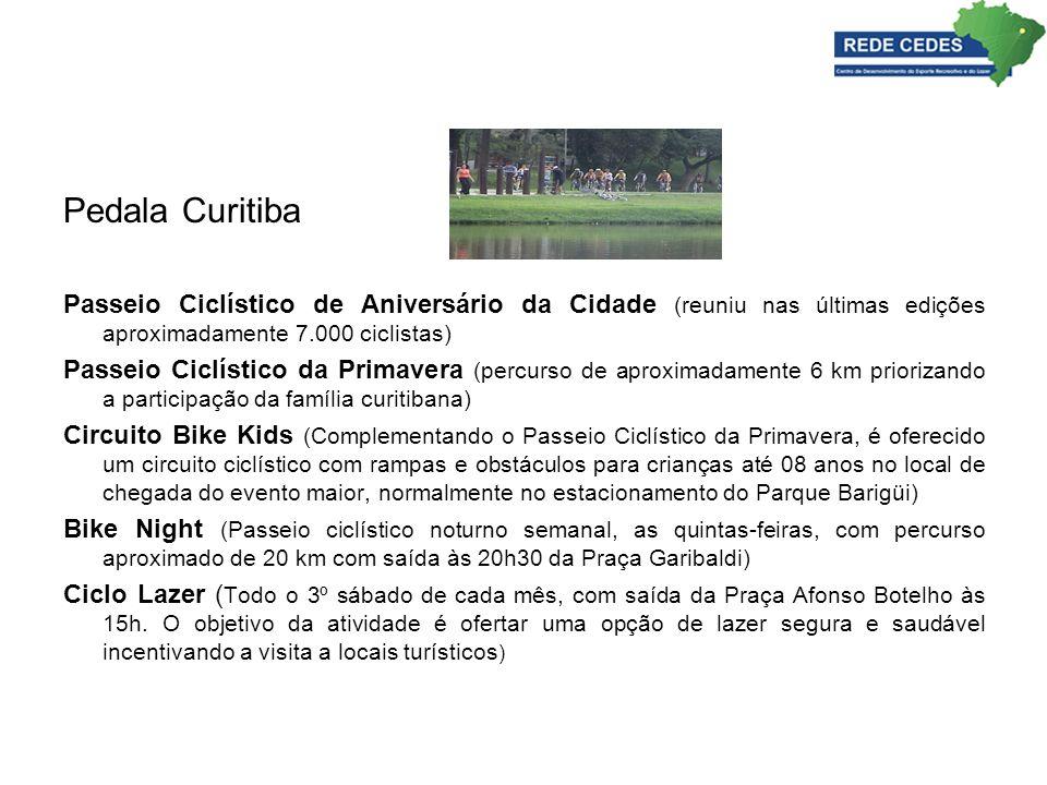 Pedala Curitiba Passeio Ciclístico de Aniversário da Cidade (reuniu nas últimas edições aproximadamente 7.000 ciclistas) Passeio Ciclístico da Primave