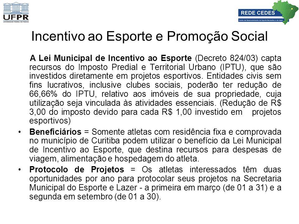 Incentivo ao Esporte e Promoção Social A Lei Municipal de Incentivo ao Esporte (Decreto 824/03) capta recursos do Imposto Predial e Territorial Urbano