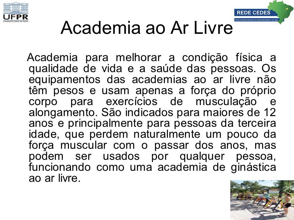 Academia ao Ar Livre Academia para melhorar a condição física a qualidade de vida e a saúde das pessoas. Os equipamentos das academias ao ar livre não