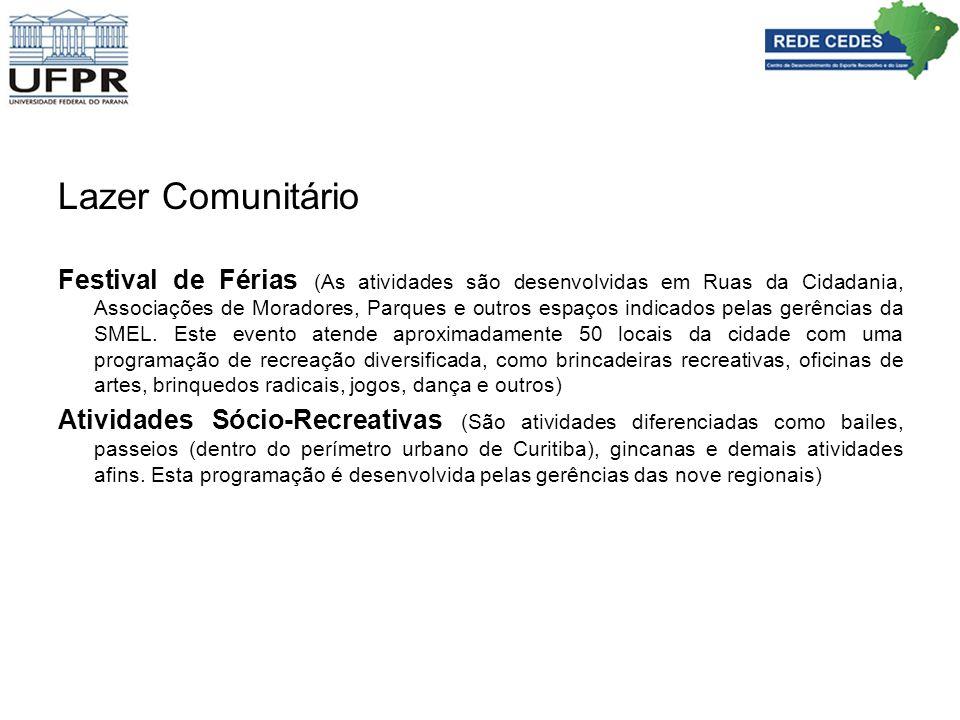 Lazer Comunitário Festival de Férias (As atividades são desenvolvidas em Ruas da Cidadania, Associações de Moradores, Parques e outros espaços indicad