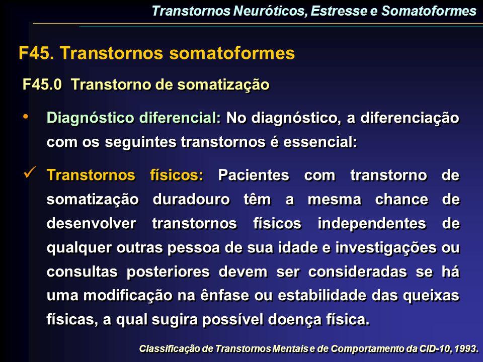 F45.0Transtorno de somatização Diagnóstico diferencial: No diagnóstico, a diferenciação com os seguintes transtornos é essencial: Transtornos físicos: