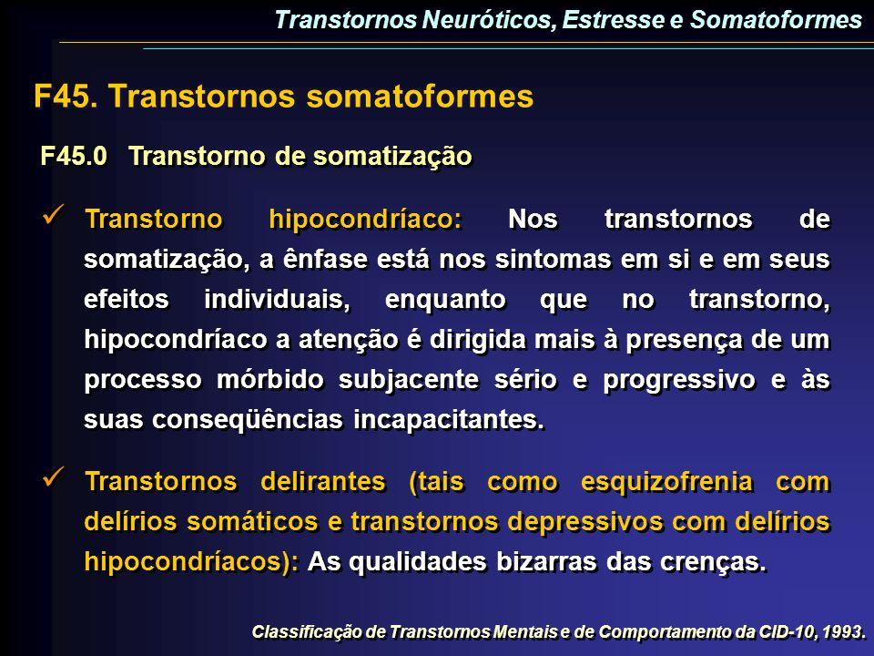 F45.0Transtorno de somatização Transtorno hipocondríaco: Nos transtornos de somatização, a ênfase está nos sintomas em si e em seus efeitos individuai