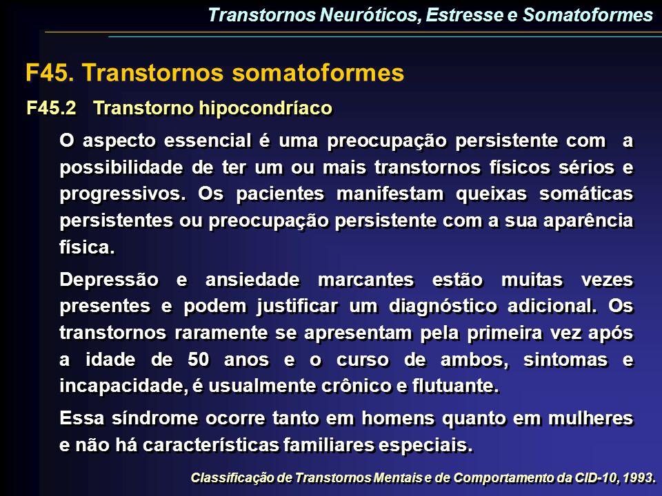 F45.2Transtorno hipocondríaco O aspecto essencial é uma preocupação persistente com a possibilidade de ter um ou mais transtornos físicos sérios e pro