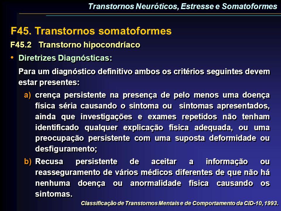 F45.2Transtorno hipocondríaco Diretrizes Diagnósticas: Para um diagnóstico definitivo ambos os critérios seguintes devem estar presentes: a)crença per