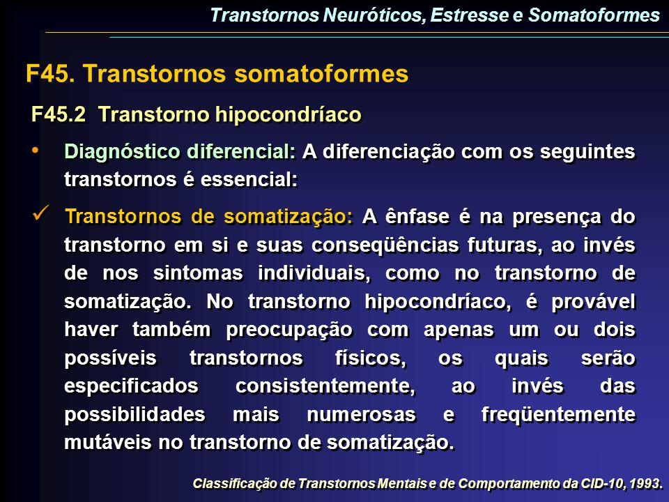 F45.2Transtorno hipocondríaco Diagnóstico diferencial: A diferenciação com os seguintes transtornos é essencial: Transtornos de somatização: A ênfase