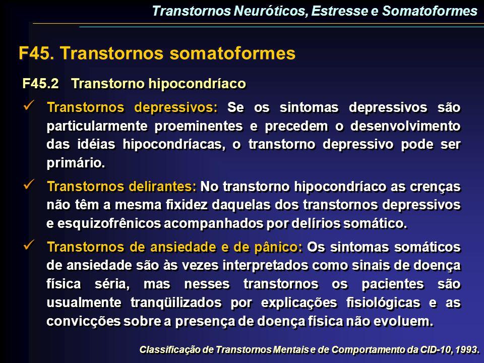 F45.2Transtorno hipocondríaco Transtornos depressivos: Se os sintomas depressivos são particularmente proeminentes e precedem o desenvolvimento das id
