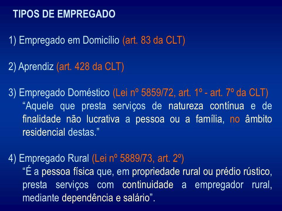 TIPOS DE EMPREGADO 1) Empregado em Domicílio (art. 83 da CLT) 2) Aprendiz (art. 428 da CLT) 3) Empregado Doméstico (Lei nº 5859/72, art. 1º - art. 7º