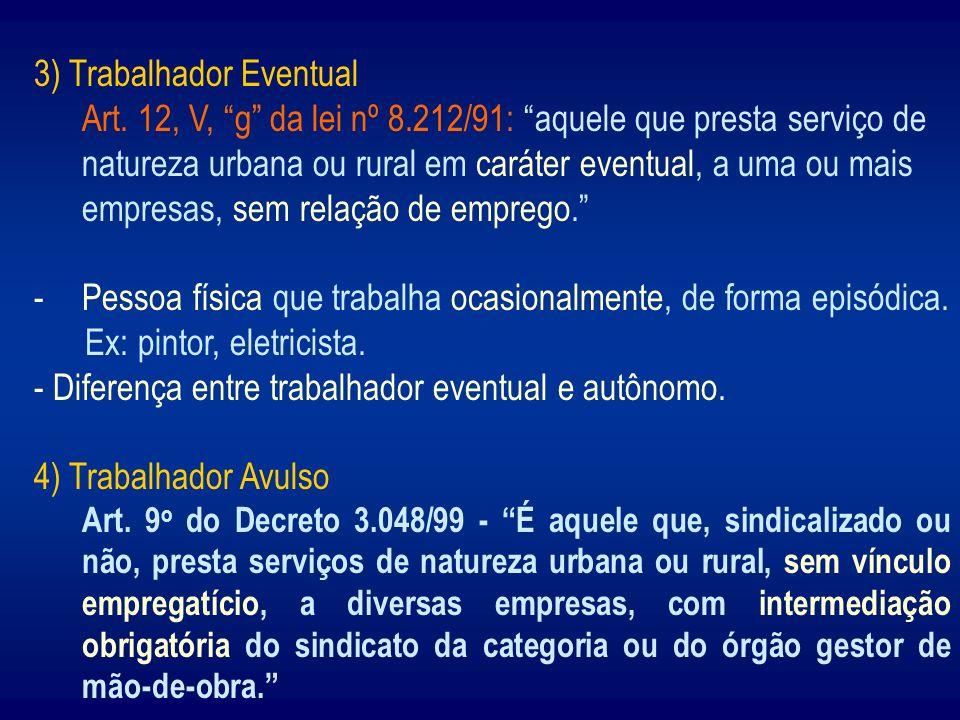 3) Trabalhador Eventual Art. 12, V, g da lei nº 8.212/91: aquele que presta serviço de natureza urbana ou rural em caráter eventual, a uma ou mais emp