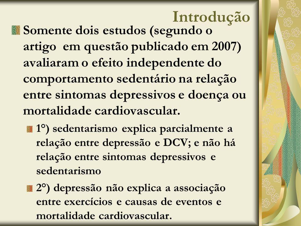 Introdução Somente dois estudos (segundo o artigo em questão publicado em 2007) avaliaram o efeito independente do comportamento sedentário na relação