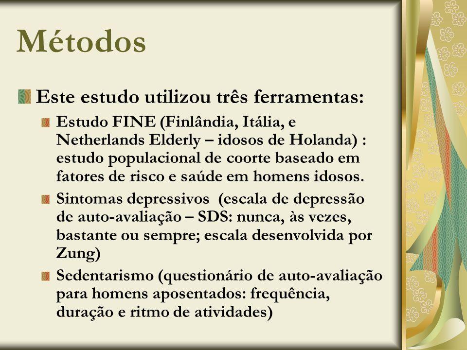 Métodos Este estudo utilizou três ferramentas: Estudo FINE (Finlândia, Itália, e Netherlands Elderly – idosos de Holanda) : estudo populacional de coo
