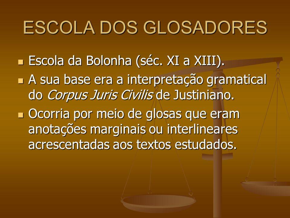 ESCOLA DOS GLOSADORES Escola da Bolonha (séc. XI a XIII). Escola da Bolonha (séc. XI a XIII). A sua base era a interpretação gramatical do Corpus Juri