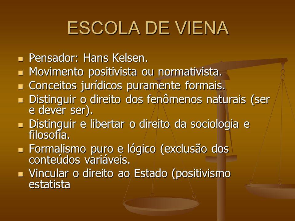 ESCOLA DE VIENA Pensador: Hans Kelsen. Pensador: Hans Kelsen. Movimento positivista ou normativista. Movimento positivista ou normativista. Conceitos