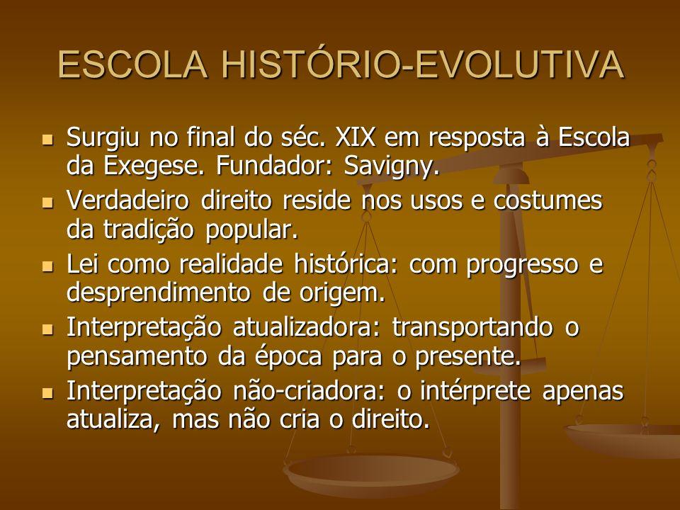 ESCOLA HISTÓRIO-EVOLUTIVA Surgiu no final do séc. XIX em resposta à Escola da Exegese. Fundador: Savigny. Surgiu no final do séc. XIX em resposta à Es