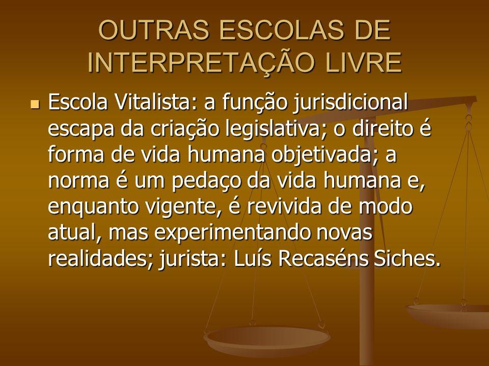 OUTRAS ESCOLAS DE INTERPRETAÇÃO LIVRE Escola Vitalista: a função jurisdicional escapa da criação legislativa; o direito é forma de vida humana objetiv