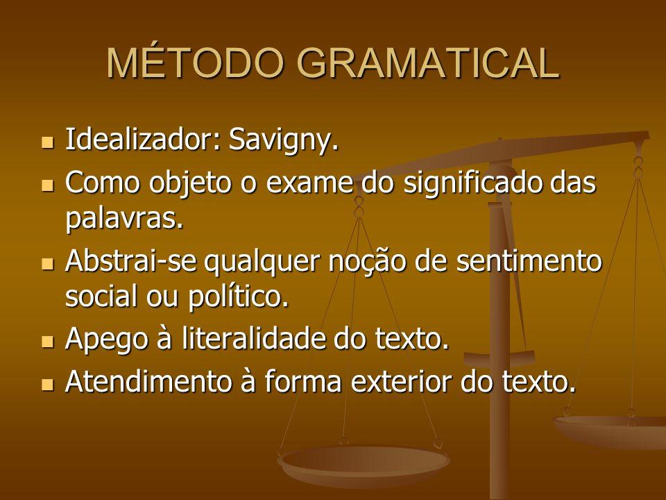 MÉTODO GRAMATICAL Idealizador: Savigny. Idealizador: Savigny. Como objeto o exame do significado das palavras. Como objeto o exame do significado das