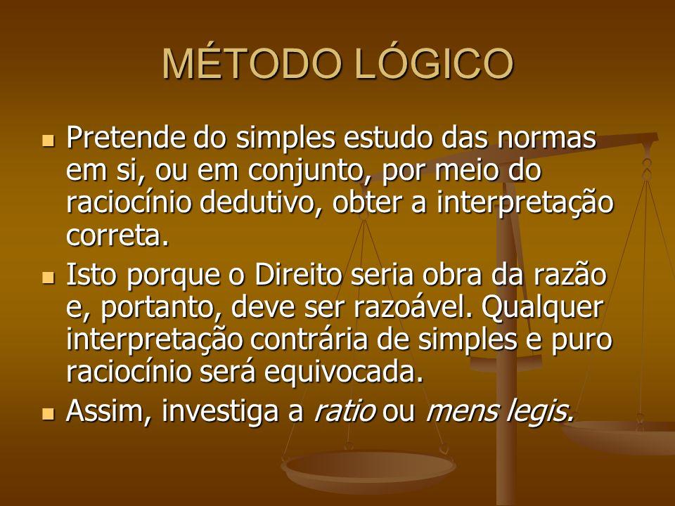 MÉTODO LÓGICO Pretende do simples estudo das normas em si, ou em conjunto, por meio do raciocínio dedutivo, obter a interpretação correta. Pretende do