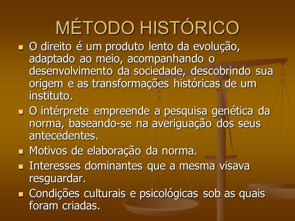 MÉTODO HISTÓRICO O direito é um produto lento da evolução, adaptado ao meio, acompanhando o desenvolvimento da sociedade, descobrindo sua origem e as