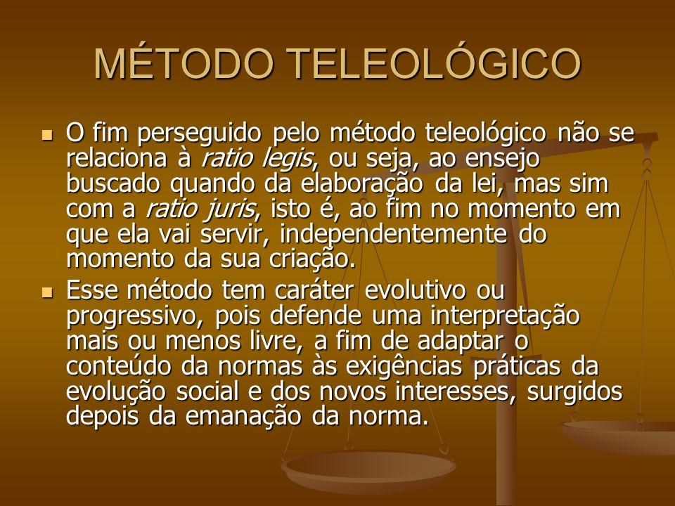 MÉTODO TELEOLÓGICO O fim perseguido pelo método teleológico não se relaciona à ratio legis, ou seja, ao ensejo buscado quando da elaboração da lei, ma
