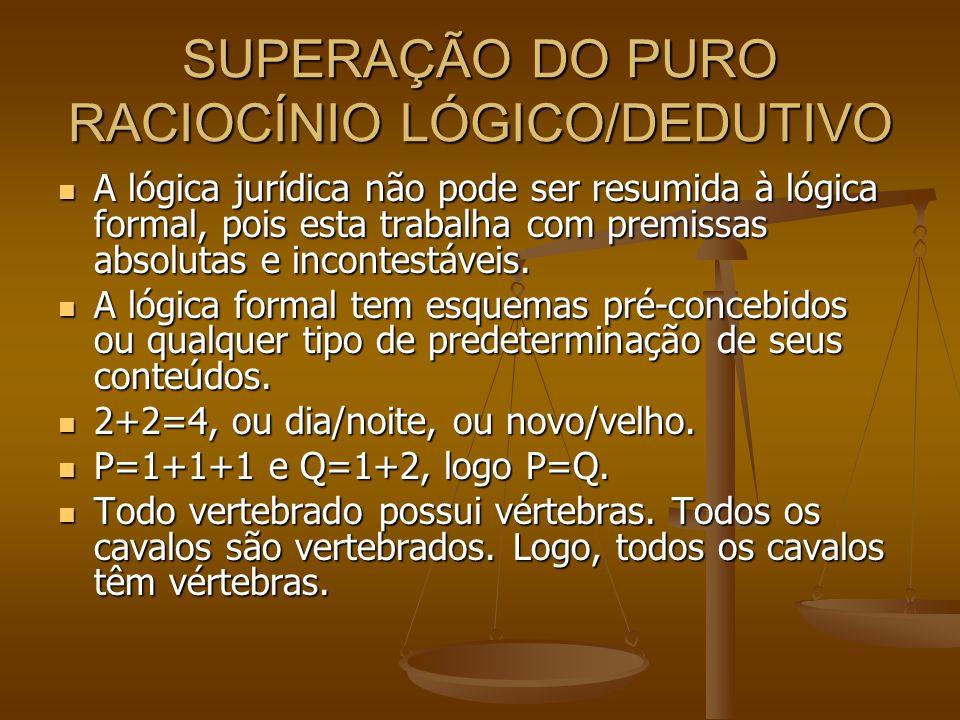 SUPERAÇÃO DO PURO RACIOCÍNIO LÓGICO/DEDUTIVO A lógica jurídica não pode ser resumida à lógica formal, pois esta trabalha com premissas absolutas e inc