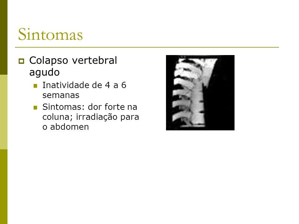 Sintomas Colapso vertebral agudo Inatividade de 4 a 6 semanas Sintomas: dor forte na coluna; irradiação para o abdomen