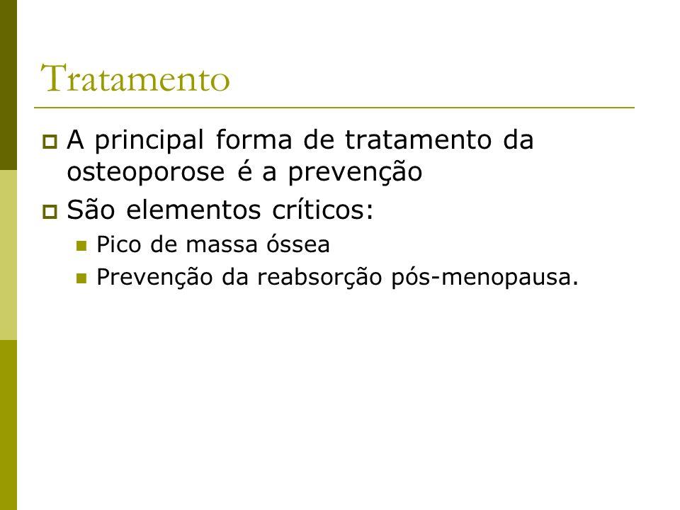 Tratamento A principal forma de tratamento da osteoporose é a prevenção São elementos críticos: Pico de massa óssea Prevenção da reabsorção pós-menopa
