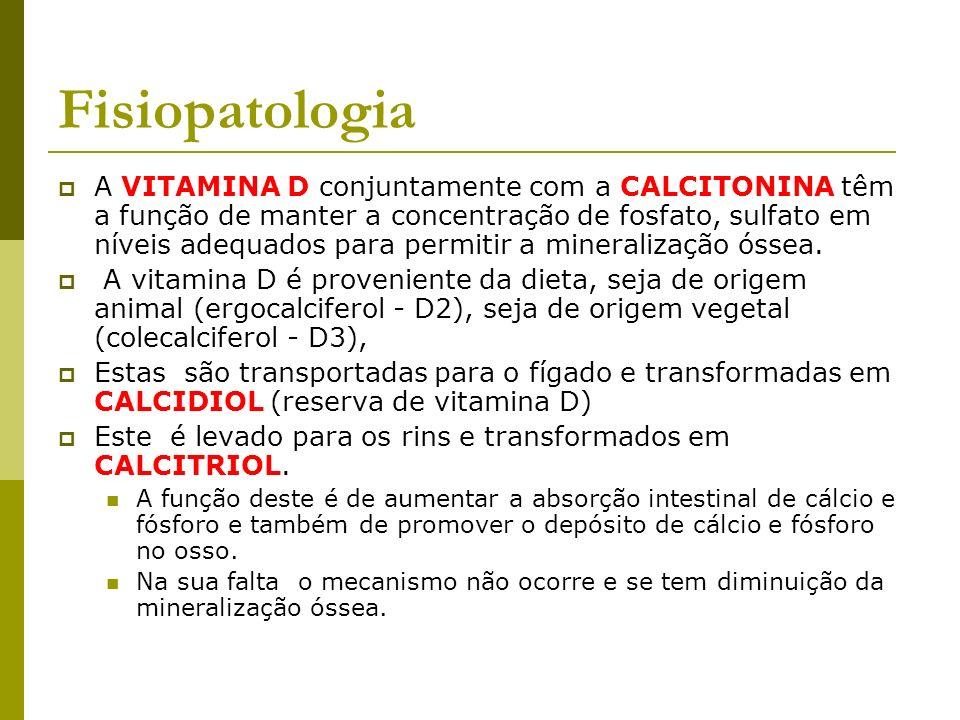 Fisiopatologia A VITAMINA D conjuntamente com a CALCITONINA têm a função de manter a concentração de fosfato, sulfato em níveis adequados para permiti