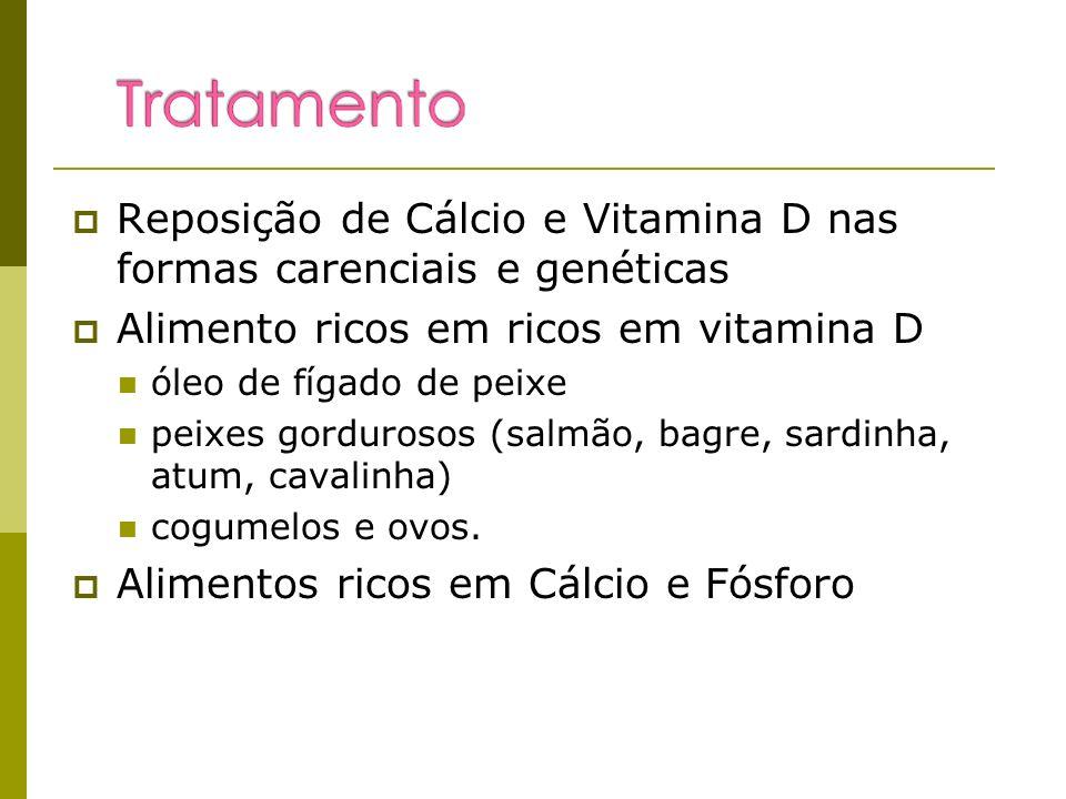 Reposição de Cálcio e Vitamina D nas formas carenciais e genéticas Alimento ricos em ricos em vitamina D óleo de fígado de peixe peixes gordurosos (sa