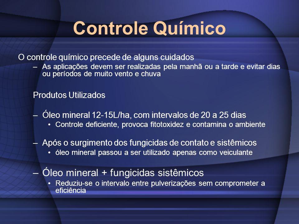 Controle Químico O controle químico precede de alguns cuidados –As aplicações devem ser realizadas pela manhã ou a tarde e evitar dias ou períodos de