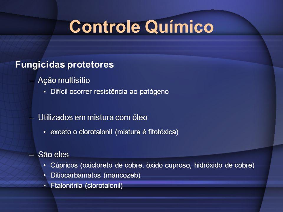 Controle Químico Fungicidas protetores –Ação multisítio Difícil ocorrer resistência ao patógeno –Utilizados em mistura com óleo exceto o clorotalonil