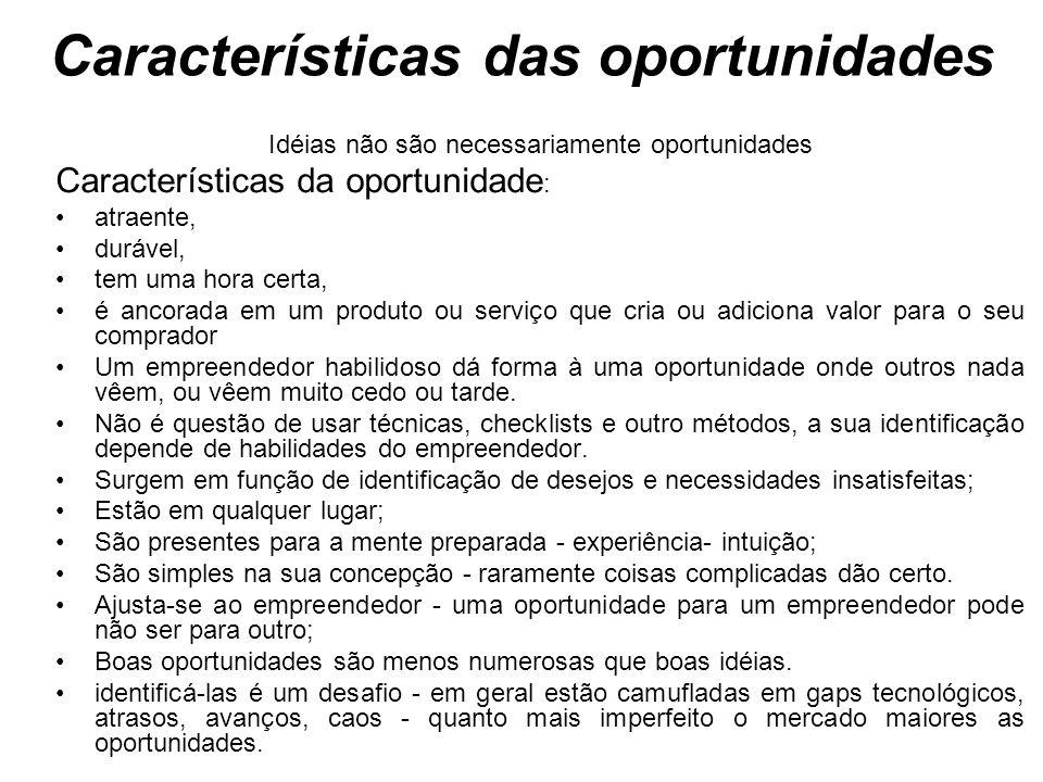 Características das oportunidades Idéias não são necessariamente oportunidades Características da oportunidade : atraente, durável, tem uma hora certa
