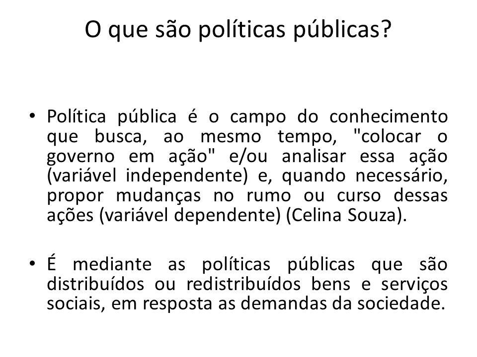 Objetivo das Políticas Públicas As políticas públicas visam responder a demandas, principalmente dos setores marginalizados da sociedade, considerados como vulneráveis.