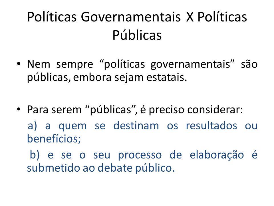Modalidade de Políticas Públicas Quanto à natureza ou grau da intervenção: a) estrutural – buscam interferir em relações estruturais como renda, emprego, propriedade etc.