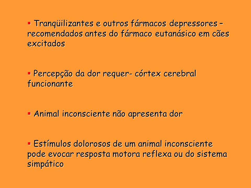Tranqüilizantes e outros fármacos depressores – recomendados antes do fármaco eutanásico em cães excitados Tranqüilizantes e outros fármacos depressor