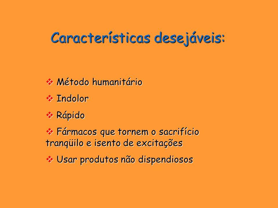 Características desejáveis: Método humanitário Método humanitário Indolor Indolor Rápido Rápido Fármacos que tornem o sacrifício tranqüilo e isento de