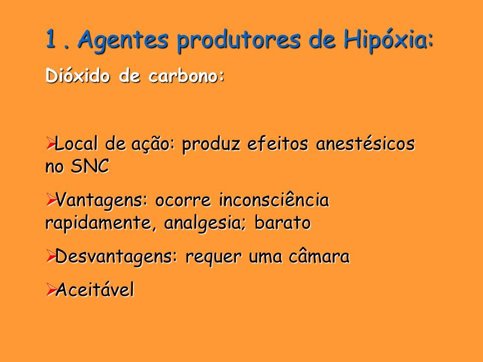 1. Agentes produtores de Hipóxia: Dióxido de carbono: Local de ação: produz efeitos anestésicos no SNC Local de ação: produz efeitos anestésicos no SN