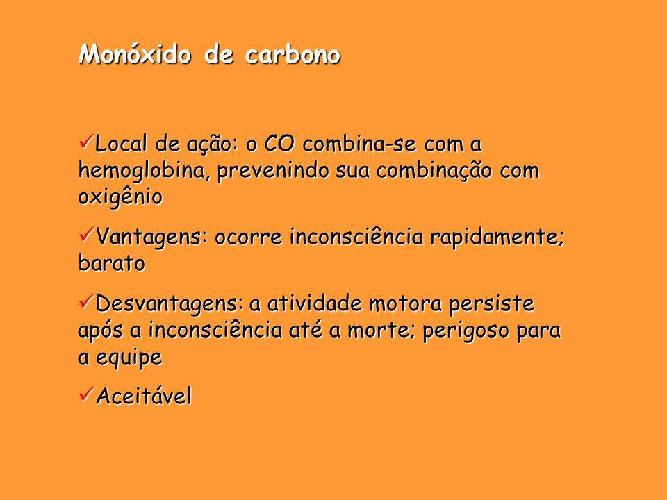 Monóxido de carbono Local de ação: o CO combina-se com a hemoglobina, prevenindo sua combinação com oxigênio Local de ação: o CO combina-se com a hemo