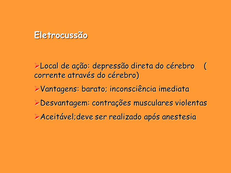 Eletrocussão Local de ação: depressão direta do cérebro ( corrente através do cérebro) Local de ação: depressão direta do cérebro ( corrente através d